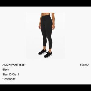 """Used lululemon Align™ Pant 25"""" - size 10 - EUC"""